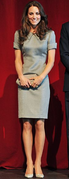 fitted gray dress by Catherine Walker, one of Princess Diana's favorite designers