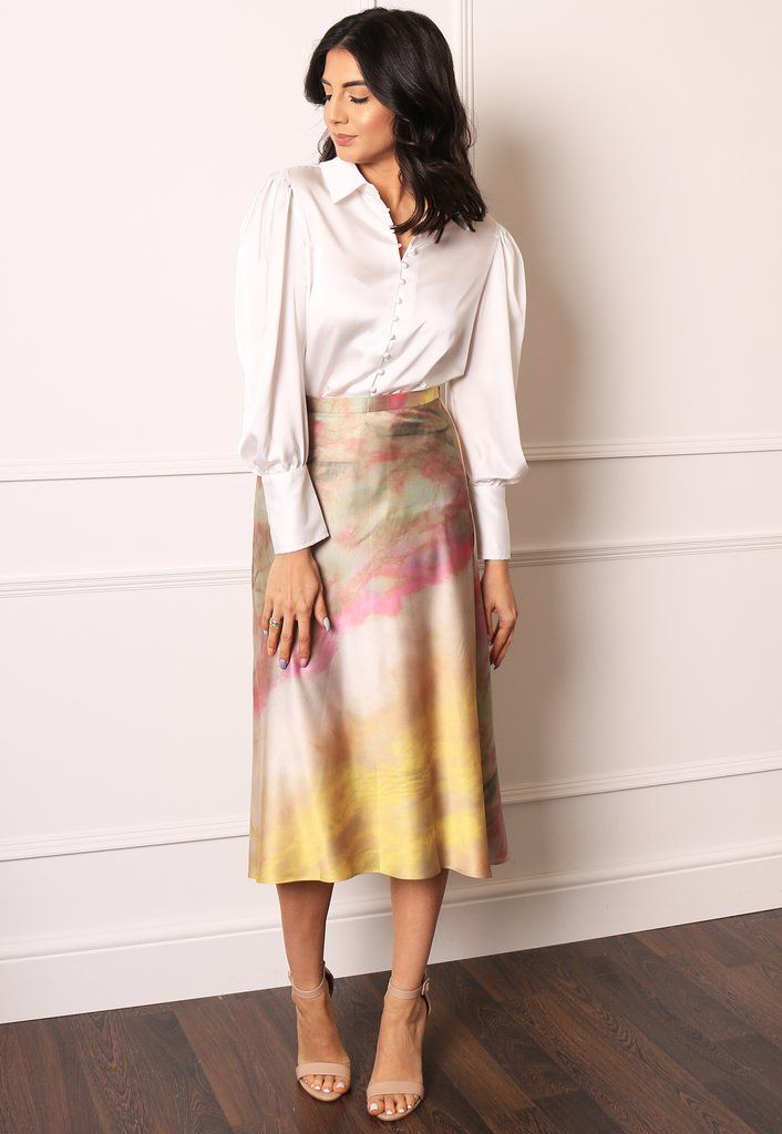 73bf924d1a Watercolour Print Satin A-Line Midi Slip Skirt in Yellow, Pink & Nude – One  Nation Clothing
