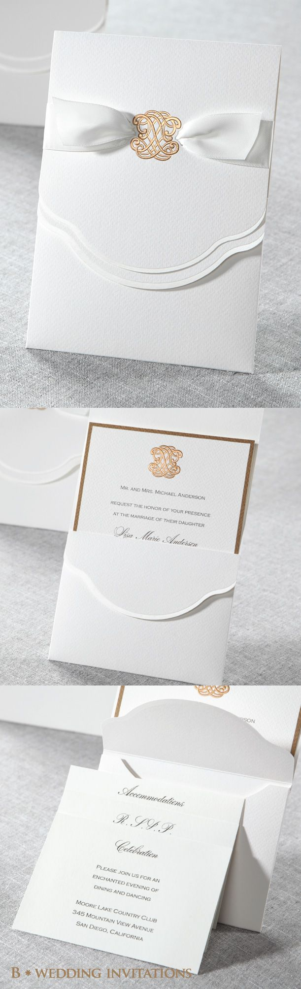 Urban Couture with a Bow by B Wedding Invitations #wedding #invitations #weddinginvitations #bweddinginvitations #pocketinvitation #ribboninvitation #goldinvitation #lasercut #lasercutinvitation #2015wedding