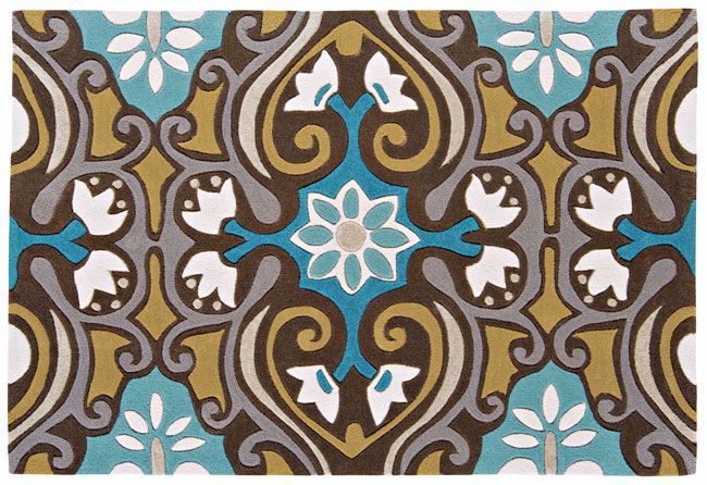 Harlequin Scroll/Dotty Scroll Brown Blue - HA10-001 Rug from £78.90. Sizes range from 180.00cm x 120.00cm to 230.00cm x 160.00cm. Available only as Rectangle. Free UK Delivery
