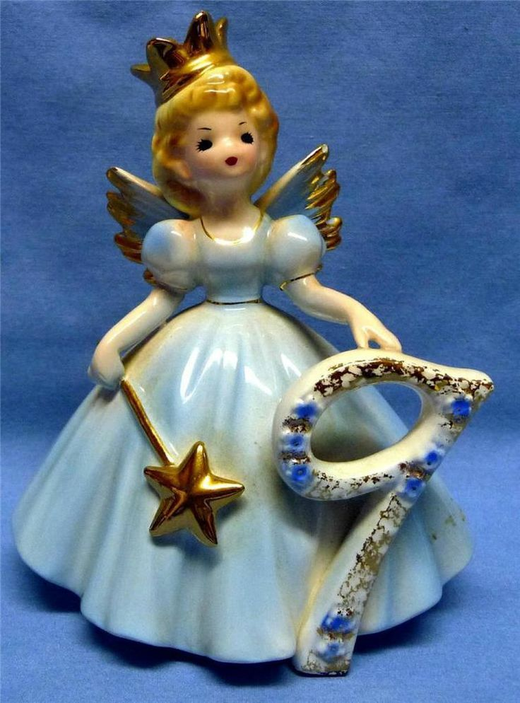 JOSEF ORIGINALS-ANGEL/GIRL-9-TH BIRTHDAY- BLUE BEAUTIFUL DRESS -GOLD CROWN&STAR