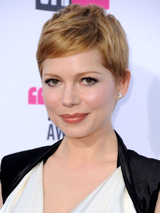 Michelle Williams' pixie cut. http://beautyeditor.ca/2013/04/04/ask-tony-chaar-what-are-the-best-hairstyles-for-a-small-face-and-forehead