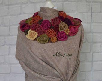 Floral mode Rose Boa kraag partij sjaal Angora Ierse gehaakte stola omslagdoek Boho fashion garen Gift voor haar warme sjaal decoratie