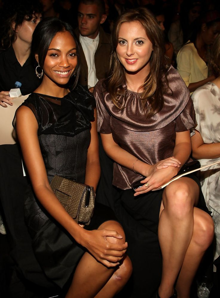 Actresses Zoe Saldana and Eva Amurri attends the Max Azria Spring 2009 fashion show during Mercedes-Benz Fashion Week at The Tent, Bryant Park on September 9, 2008 in New York City.