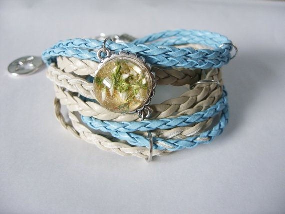 Bracelet with real heather in resin by zusnA on Etsy