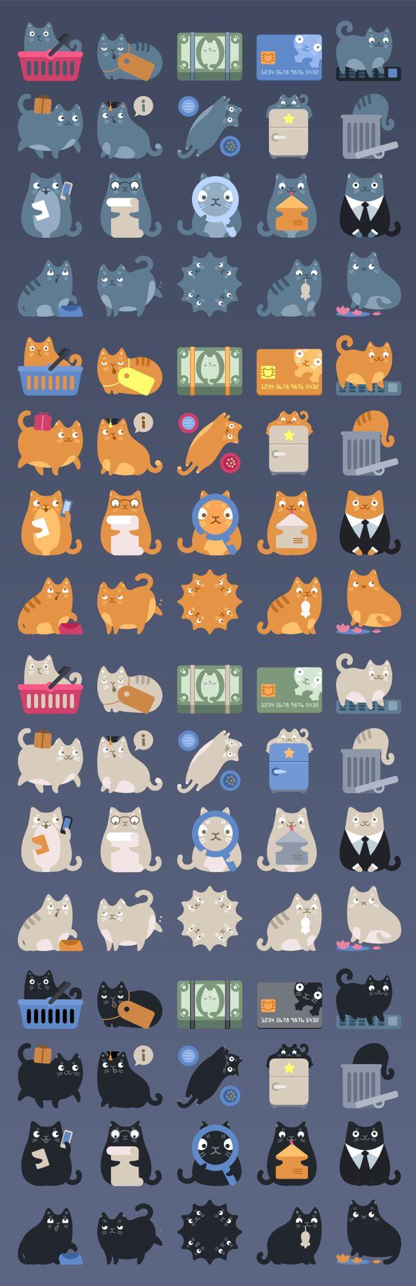 Cat Commerce Icon Pack by Denis Sazhin, via Behance