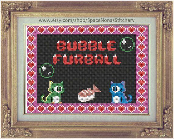 Bubble Furball/Bubble Bobble - Cross Stitch Pattern - Downloadable PDF