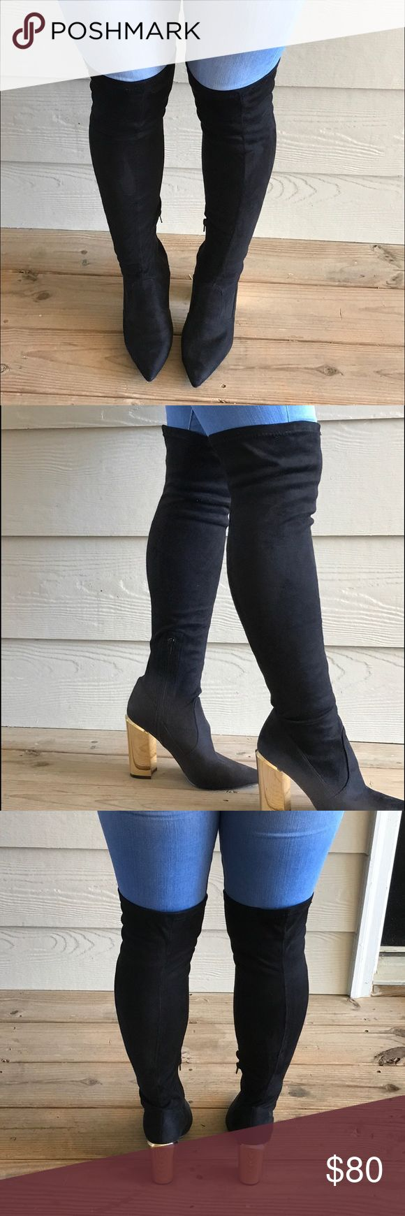 Knee high gold heel boots These over the knee sock boots are sure to catch your attention with a gold heel. They are great for a night out and are in great condition. These boots have only ever been worn twice Steve Madden Shoes Over the Knee Boots