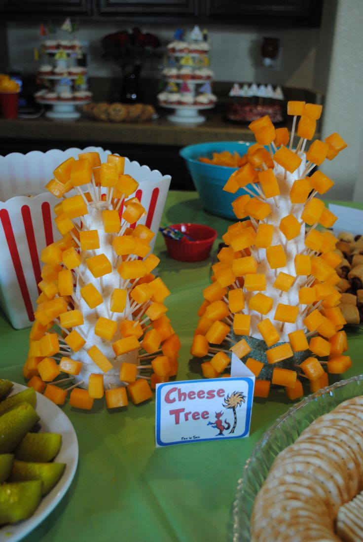 Cheese Tree. You can in fact do this with anything on a small toothpick, but I like this idea better than a tray as it takes up less space