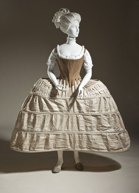 Pannier (hoop petticoat) made of linen plain-weave cloth and cane hoops, English, 1750-1780.