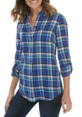 Kim Rogers Women's Roll Sleeve Shirt - Turq/Blue - Xl