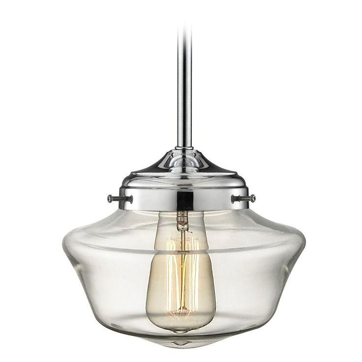 Design Classics Lighting Schoolhouse Pendant Light Clear Glass Chrome FA4-26 / GA8-CL
