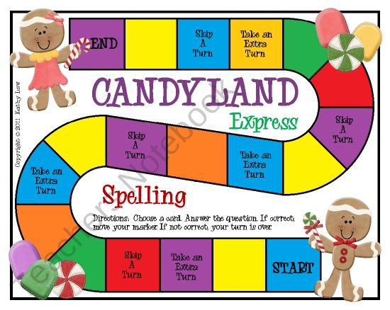 FREE Candyland Express - Spelling from FirstGradealaCarte on TeachersNotebook.com (5 pages)  - A game to practice spelling basic sight words