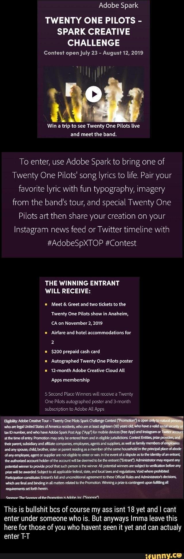 Twenty One Pilots Spark Creative Challenge Comes Open July 23 Augus 12 2019 And Meet The Band To Enter Use Adobe Spark To Bring One Of Twenty One Pilots One Pilots