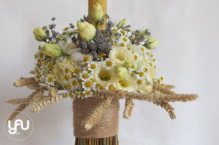 yau concept_yau flowers_yau events_lumanare de botez cu musetel lavanda si grau