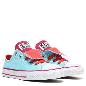 Kids Converse Chuck Taylor All Star Double Tongue Low Top Sneaker BlackPinkIridescen