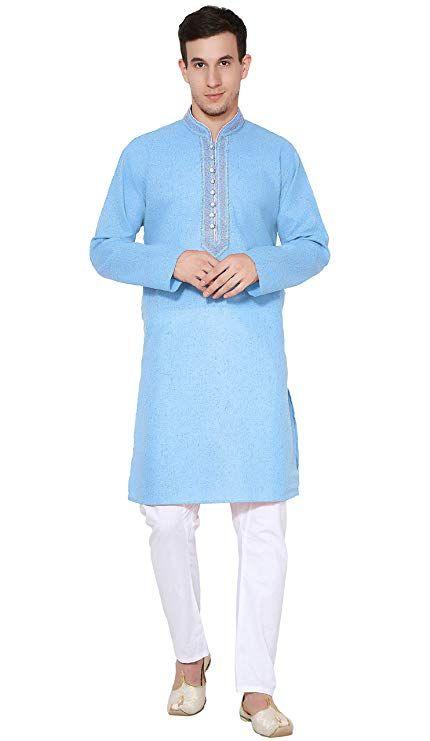 64b3e9aebd  Indian Amazon से ऑफर और डिस्काउंट Handmade Mens Kurta Pajama Long Sleeve  Cotton Shirt Pyjama