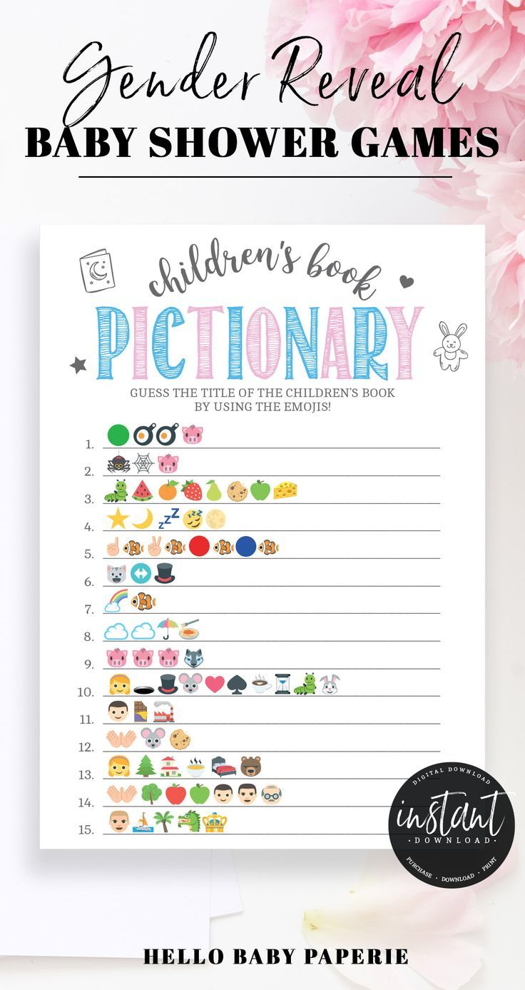 Pink And Blue Children S Book Emoji Game Template Gender Reveal Games Gender Reveal Party Games Gender Reveal Games Printables