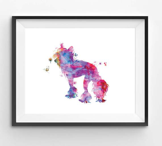 Colorful Chinese Crested Watercolor Print Dog Print Dog