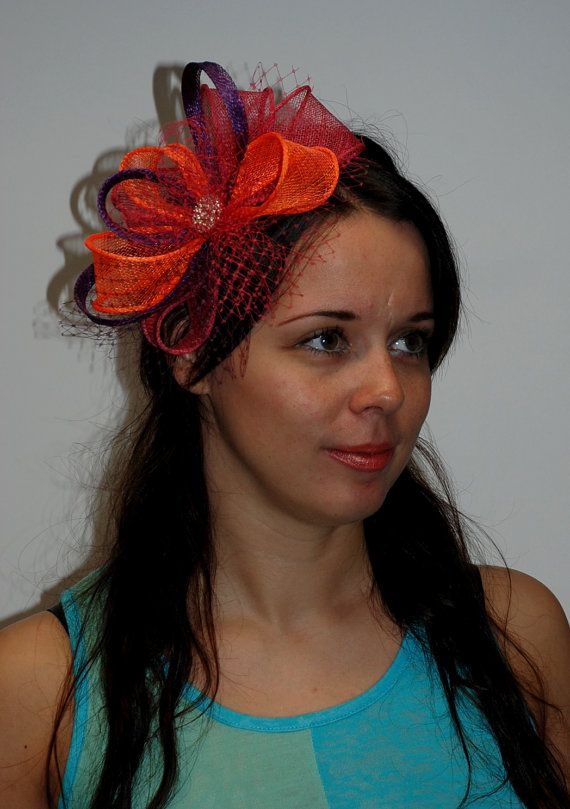 Hot pink, orange, purple fascinator for weddings, parties, races - New gorgeous multicolour fascinator in my Etsy shop! on Etsy, 421:38 kr