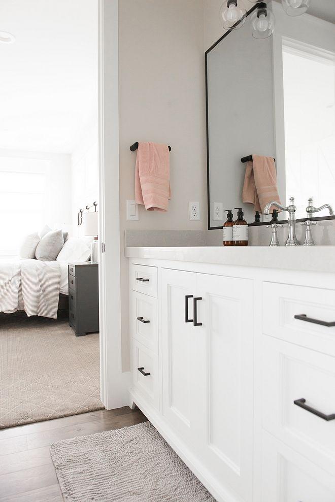 New Construction Modern Farmhouse Design In 2021 Black Bathroom White Bathroom Storage Bathroom Hardware