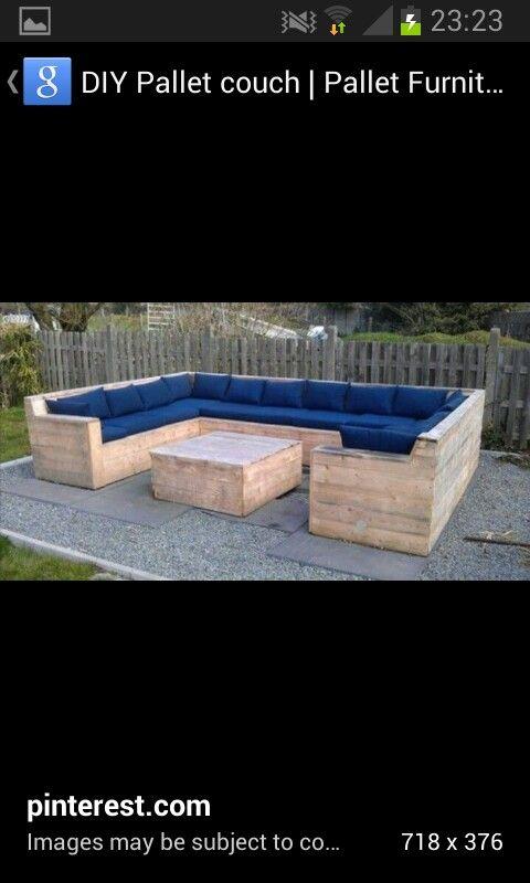 Pallet patio furniture! I wanna make this!