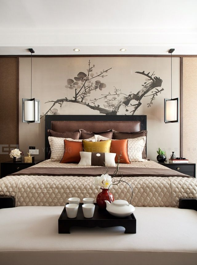 Lovely Warm Bedroom With An Asian Flair