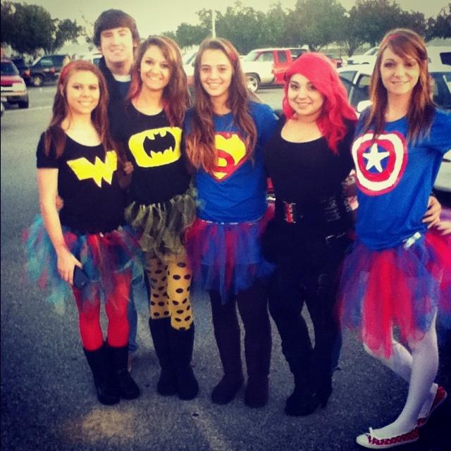 Homemade tutus and tshirts! Super hero costumes!