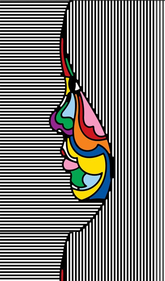 by:Peter Max...Love this combination of strong black and white lines with bold, bright colors. Great graphic design.