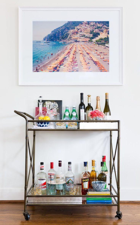 Fab rustic bar cart with hanging art | Jennifer Barron Interiors