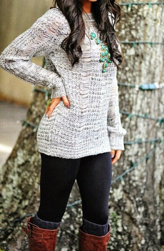 Casual Fall Outfit With Crochet Sweater and Tights