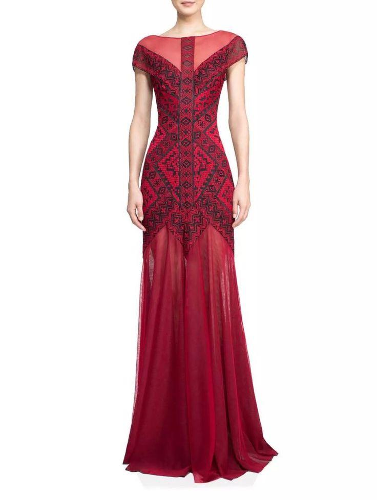 NWT Tadashi Shoji Red Zola Gown #TadashiShoji #EveningDress #Formal