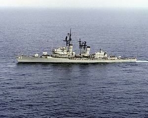 USS Dewey (DLG-14/DDG-45) Farragut-class guided missile destroyer named for George Dewey, United States only Admiral of the Navy.