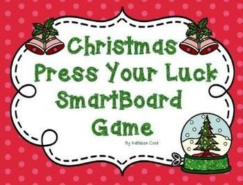 Christmas Press Your Luck SmartBoard game.  This is a SmartBoard game modeled after the game show Press Your Luck. The game consists of 18 questions. Questions are about Christmas songs and traditions. When a question is answered correctly the student is directed to go to the score board where they select a square to see how many points they earn.