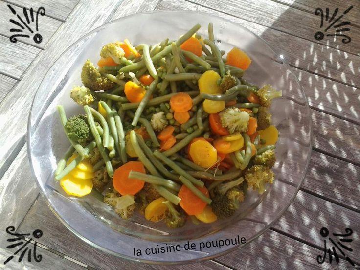 Légumes vapeur (haricots, carottes, petit pois et brocolis) au thermomix
