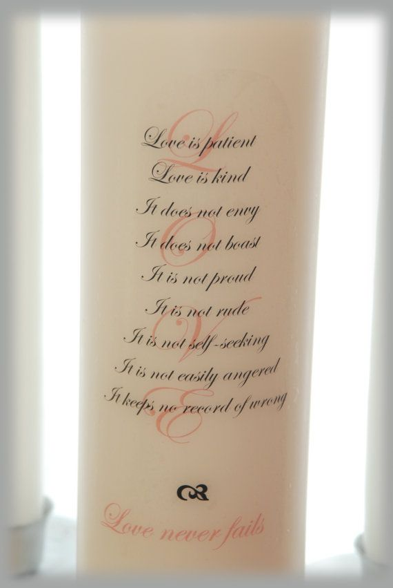 Unity Candle With LOVE Poem Wedding Candles By Waxingeloquent