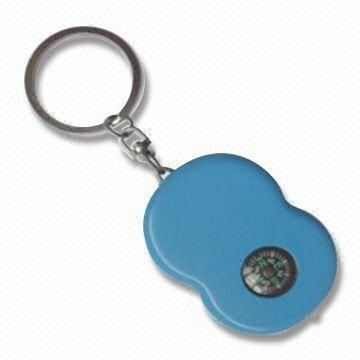 Rechargeable Solar LED Keychain with Compass, 16,000mcd Brightness