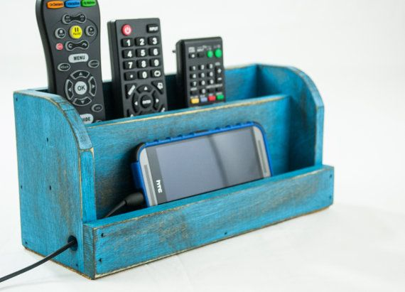 Distressed Blue Wood Docking Station and TV Remote Control Organizer Rustic Wooden Bedside Alarm Clock Smartphone and iPad Charging Station