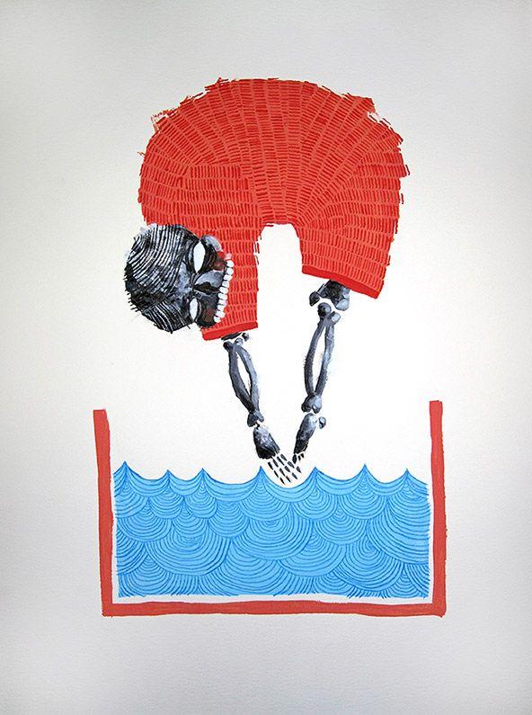 'The High Diver' Mixed media on watercolour paper 55cm x 75cm painting by Michael Cain- Gnashing Teeth (gnashingteeth) circus, skull