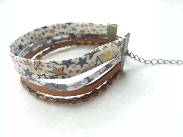 Bracelet Manchette liberty & suedine Sahara