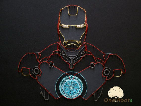Iron Man of string art for wall decor. Tony Stark by OneRoots