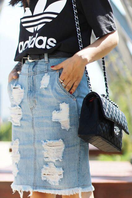 Adidas Originals T-shirt, Ripped denim skirt and Chanel bag by FASHIONISMYGF.COM