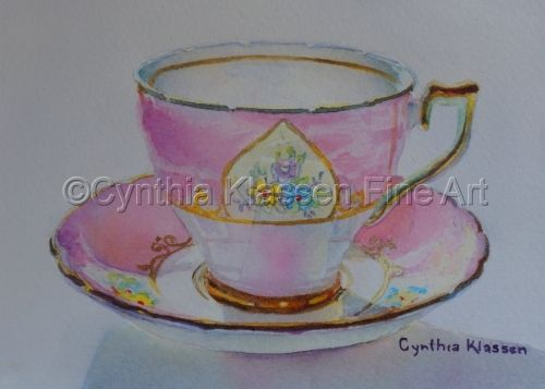 Pink Wellington Tea Cup is part of my realistic watercolor tea cup painting series. Prints are available at CynthiaKlassen.com.