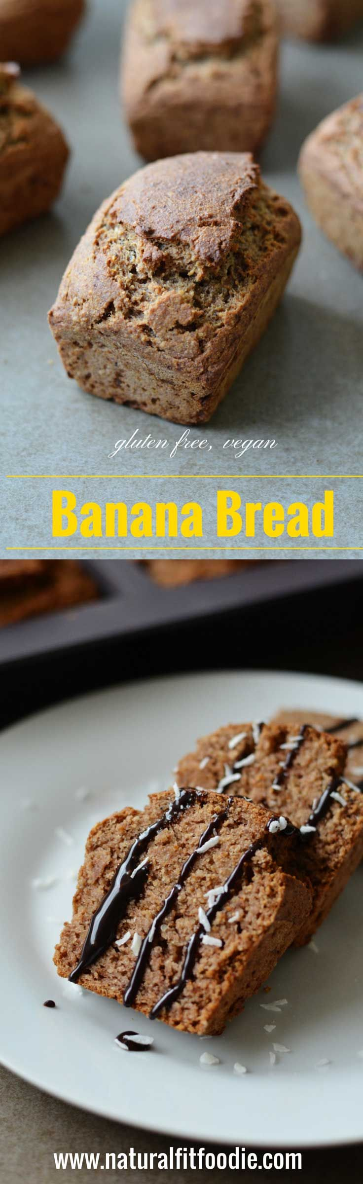 Gluten free banana bread - Natural Fit Foodie - A lightly sweetened gluten free banana bread that's delicious and completely guilt free! Bonus, it's vegan too!