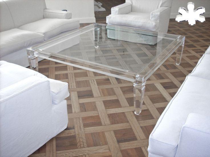 Lucite Acrylic coffe table - Acrylic furniture -TAVOLINI DA SALOTTO IN PLEXIGLASS | Tavolo trasparente in plexiglas 01A.mod. LV1   | Tavolino plexiglass cm.140 x 140 h.40 - telaio sp.mm.60 - gambe sez.mm.80