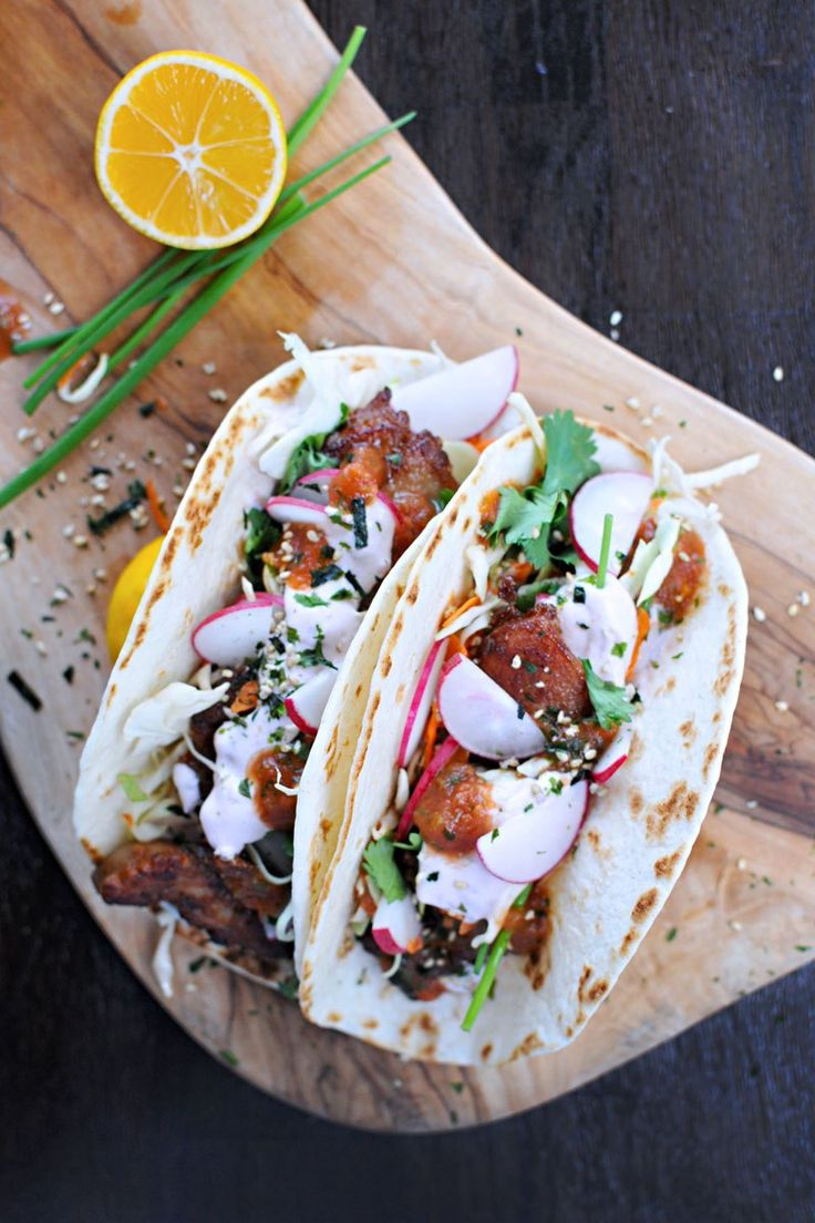Mochiko Chicken Tacos with Tangy Umeboshi Mayo - mochiko flour is sweet rice flour which is GF and is a great way to fry up some chicken!