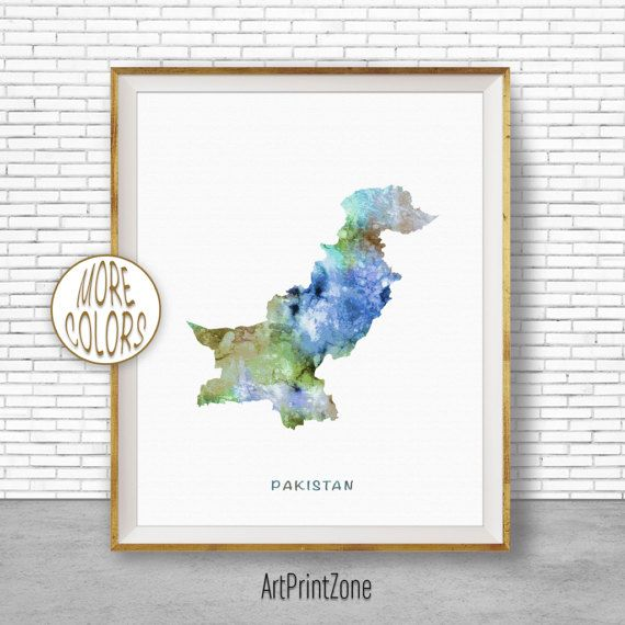 Pakistan Map Decor, Pakistan Print, Pakistan Art Print, Watercolor Print, Wall Art Prints, Moving Away Gift, Moving Gift, ArtPrintZone #WatercolorPrint #WallArtPrints #ArtPrintZone #MovingGift #MovingAwayGift