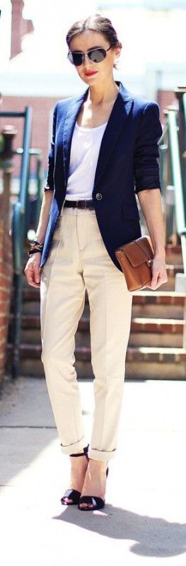 Classy and Fabulous office outfit in cream and blue.