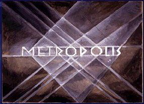 """Metropolis 1927 - Film Archive - Erich Kettelhut Drawings 1925-6.  Opening title of """"Metropolis"""", sketch by Erich Kettelhut. (c) Filmmuseum Berlin - Deutsche Kinemathek. Sepia wash and colour drawing on paper. This image forms the basis for the original opening title graphic."""