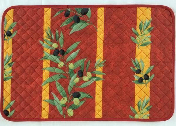 french linen cotton placemant with olive motif in red